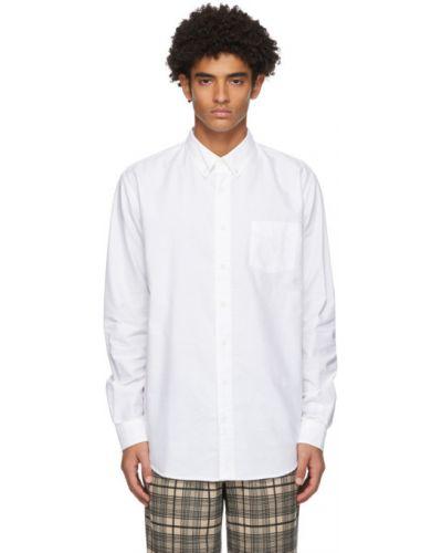 Белая оксфордская рубашка с воротником с заплатками с карманами Schnaydermans