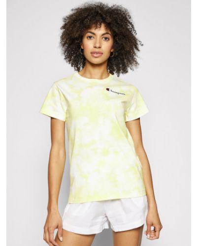 Żółty t-shirt z printem Champion