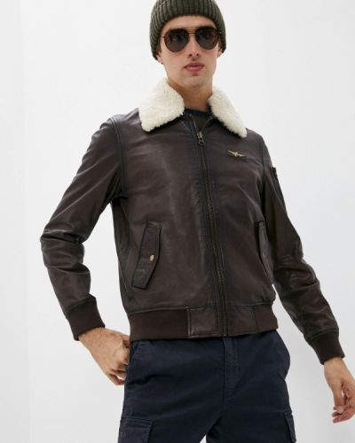 Кожаная куртка - коричневая Aeronautica Militare
