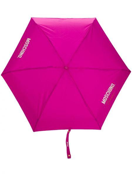Różowy parasol skórzany z printem Moschino