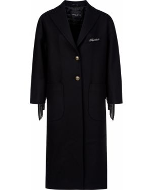 Шерстяное черное пальто с капюшоном Frankie Morello