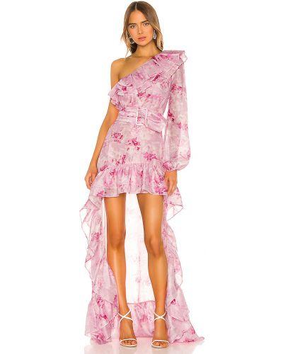 Nylon fioletowy sukienka z dekoltem prążkowany Atoir