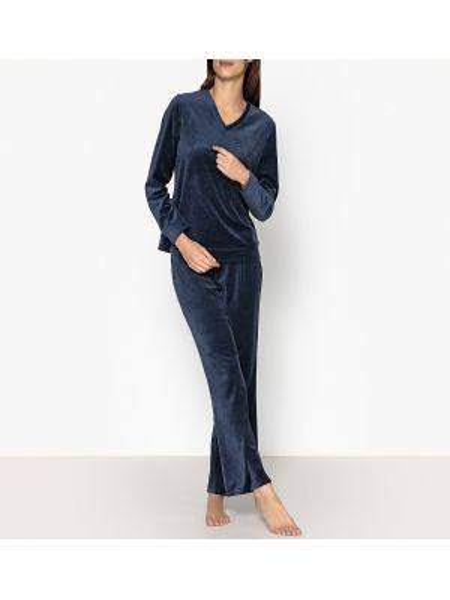 Черная теплая пижама с брюками с длинными рукавами с вышивкой La Redoute Collections