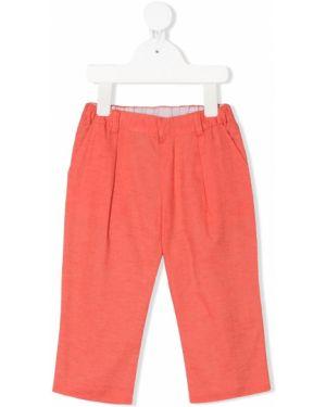 Pomarańczowe spodnie bawełniane z paskiem Baby Dior