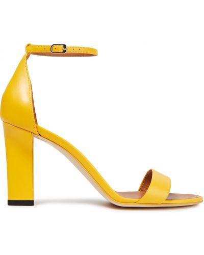 Sandały skórzane na obcasie - żółte Victoria Beckham