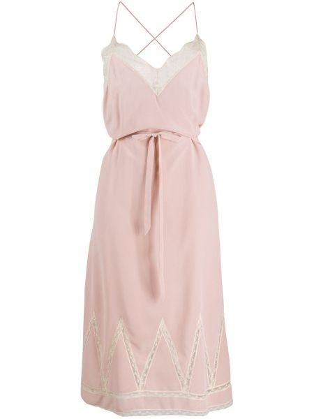 Платье с поясом розовое на бретелях Zadig&voltaire