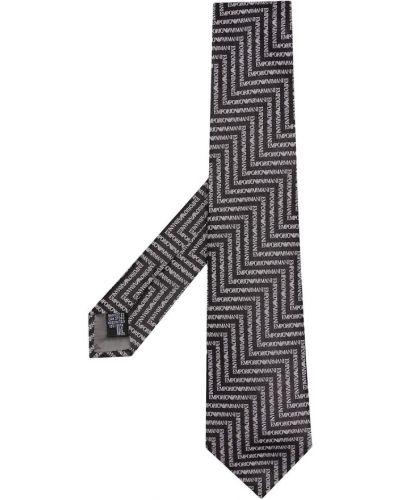 Czarny krawat z jedwabiu z printem Emporio Armani