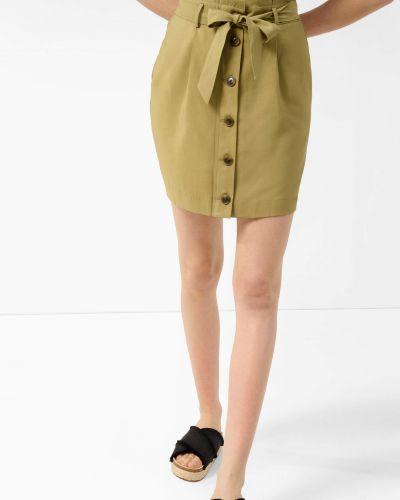 Zielona spódnica mini z wiskozy zapinane na guziki Orsay
