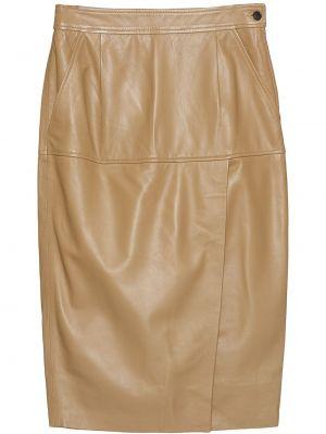 Коричневая кожаная с завышенной талией юбка миди до середины колена Equipment
