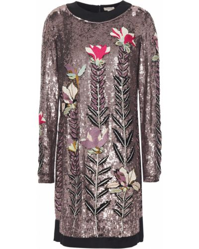 Розовое платье мини с пайетками из фатина Temperley London