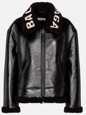 Кожаная куртка - черная Balenciaga
