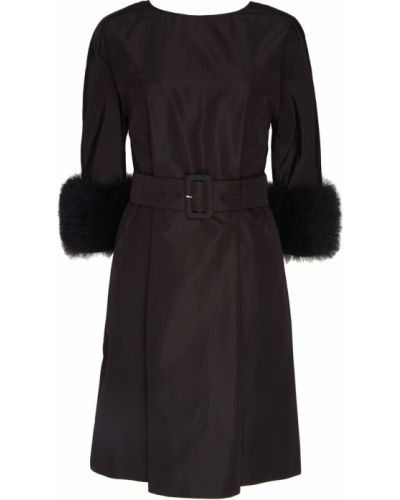 Платье с мехом шелковое Prada