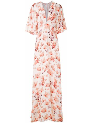 Шелковое с рукавами белое платье макси Isolda