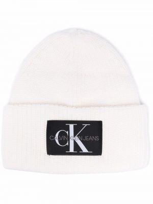 Czapka beanie - biała Calvin Klein Jeans