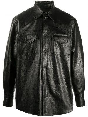 Кожаная с рукавами черная рубашка Msgm