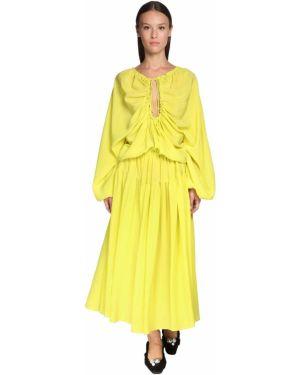 Шелковое зеленое платье миди с воротником Rochas