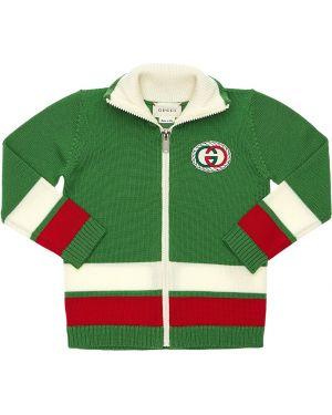 Zielony kardigan wełniany w paski Gucci