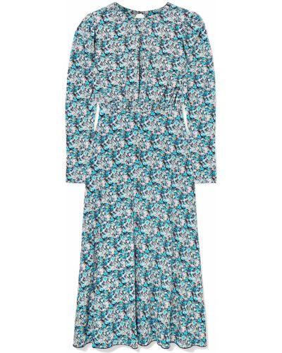 Sukienka midi z printem turkusowa Rotate Birger Christensen