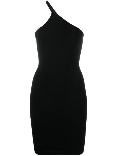 Прямое вязаное черное платье мини Dsquared2