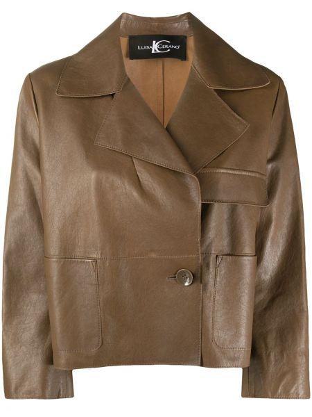 С рукавами коричневая кожаная куртка Luisa Cerano