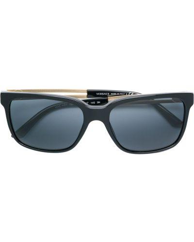 Тонкие черные солнцезащитные очки металлические Versace Eyewear