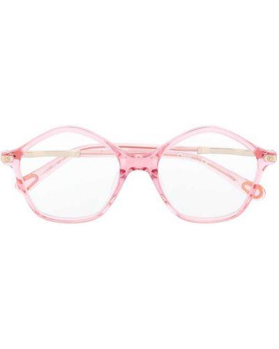 Розовые солнцезащитные очки круглые прозрачные Chloé Kids