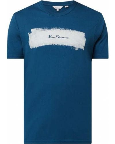 Niebieski t-shirt z printem bawełniany Ben Sherman
