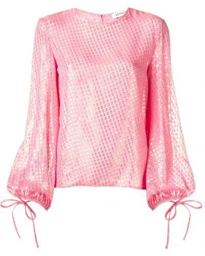 Блузка с длинным рукавом розовая с пышными рукавами Attico