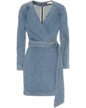 Ватное синее джинсовое платье из штапеля стрейч Jonathan Simkhai