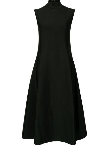 Расклешенное черное платье без рукавов Maison Rabih Kayrouz