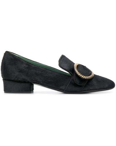 Черные туфли на каблуке с пряжкой на каблуке Paola D'arcano