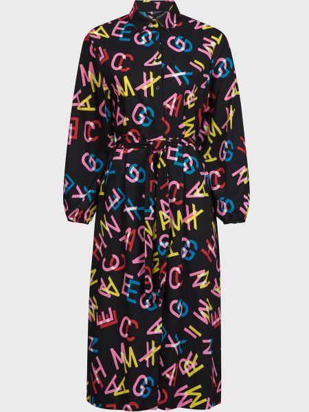 Черное платье с поясом на пуговицах Armani Exchange