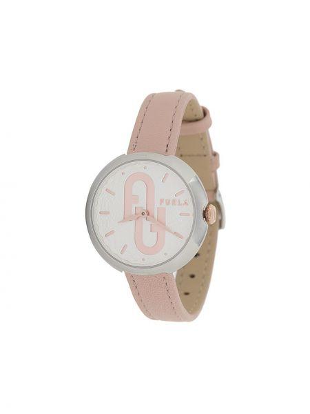 Z paskiem srebro zegarek na skórzanym pasku okrągły z klamrą Furla