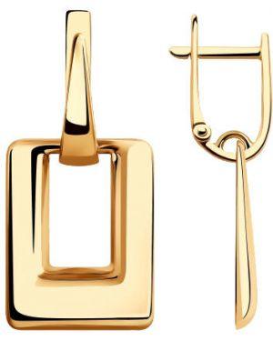 Золотые серьги прямоугольный английский Sokolov