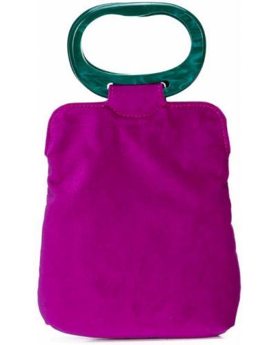 Фиолетовая сумка с ручками Edie Parker