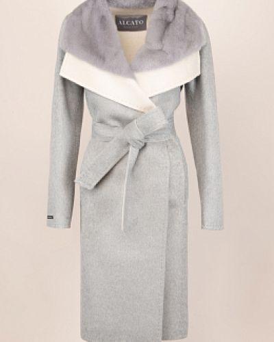 Серое шерстяное пальто с воротником Alcato