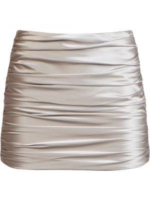 Бежевая шелковая с завышенной талией юбка мини с оборками Michelle Mason