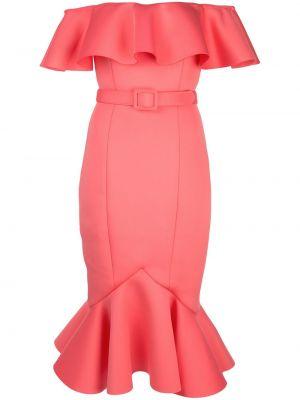 Różowa sukienka mini krótki rękaw Badgley Mischka