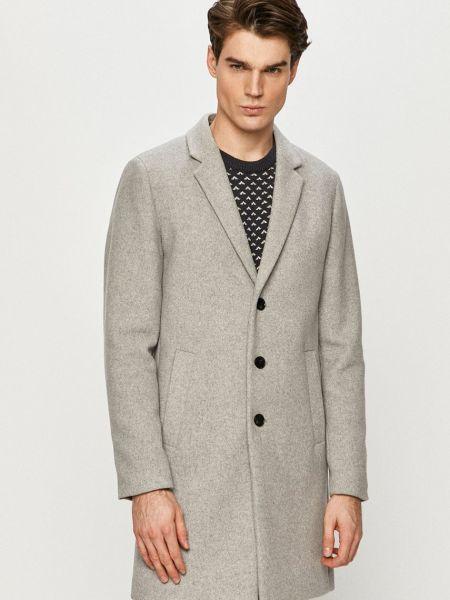 Серое шерстяное пальто классическое с карманами Jack & Jones