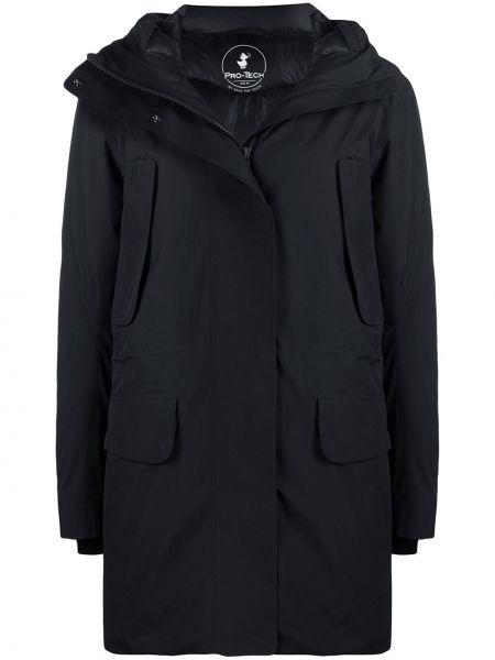 Черное длинное пальто с капюшоном с воротником Save The Duck