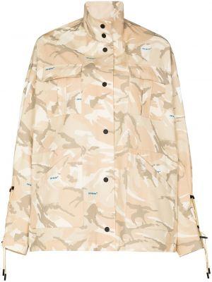 Bawełna biały długa kurtka z kieszeniami z długimi rękawami Off-white