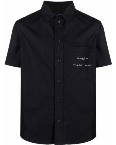 Czarna klasyczna koszula krótki rękaw bawełniana Ih Nom Uh Nit