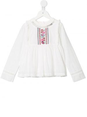 Расклешенная бархатная белая блузка Velveteen