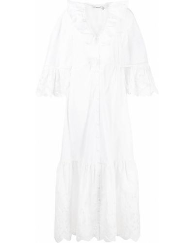 Хлопковое платье макси - белое Self-portrait