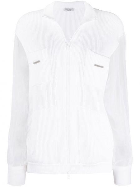 Biały bawełna bawełna z rękawami długi sweter Brunello Cucinelli