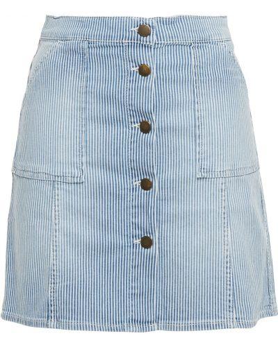 Синяя юбка мини с карманами в полоску Ba&sh
