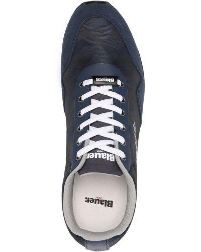 Синие кожаные кроссовки на шнурках Blauer