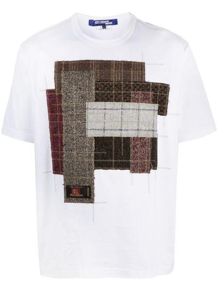 Белая прямая рубашка с короткими рукавами пэчворк из вискозы Junya Watanabe Man