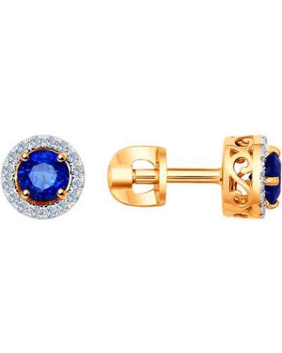 Серьги-гвоздики с бриллиантом c сапфиром Sokolov