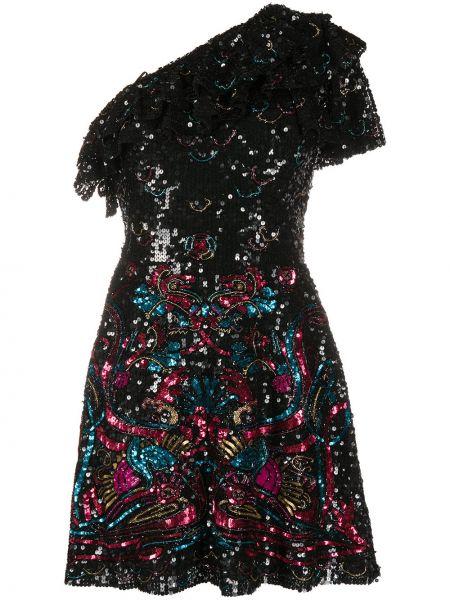 Черное расклешенное платье мини с пайетками с короткими рукавами Zuhair Murad